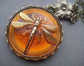 Dragonfly Necklace - Dragonfly Pendant - Dragonfly Jewelry - Amber Necklace - Amber Jewelry - Amber Pendant - Dragonflies - Nature Jewelry