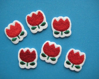 6 pcs Iron-On embroidered applique Red Tulip 0.75 inch