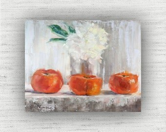 Three Persimmon - Art Print of Painting - Large Wall Art Print on Wood Block