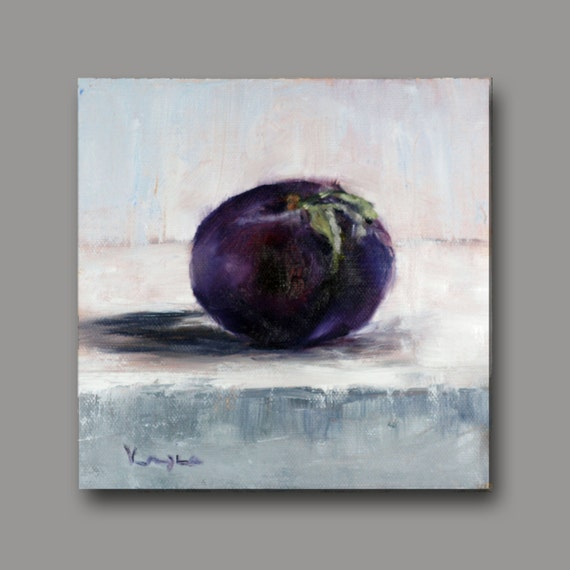 Fine Art Canvas Painting - Oil Painting Still Life with Plum - Original Painting Canvas Art by Carrie Venezia - Purple, Grey