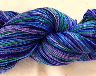"Hand Dyed Sock Yarn  SW BFL/Nylon ""Fibery Jewels"""