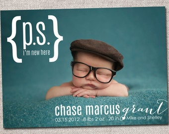 Birth announcement, baby boy announcement, baby girl announcement, baby announcement, modern birth announcement, printable (PS I'm New Here)