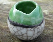 MADE TO ORDER Ceramic Mini Landscape Pot with Green Raku Glaze Handmade in Cornwall Housewarming/Wedding Gift