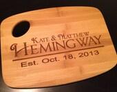 Personalized laser engraved bamboo cutting board wedding gift handmade Custom Name