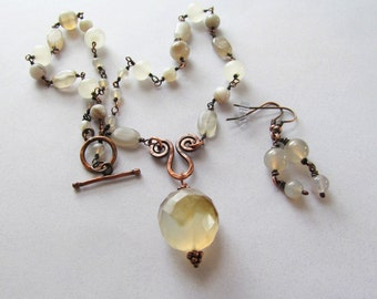Faceted Agate Pendant on Wire Wrapped Beaded Chain with Earrings