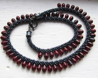 Beaded Kumihimo Necklace, Red and Black, with Matching Earrings