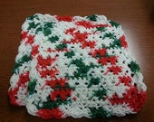 Christmas color 100% Cotton Dishclothes Set of 2