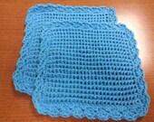 Blue 100% Cotton Dishcloth, Set of 2