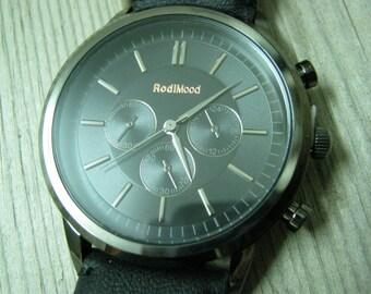 Elegant Men's Leather Watch Chronograph Gunmetal Watch Men's Watch Leather Accessories- Men's Wrist Watches- Leather Watches - Men's Watches