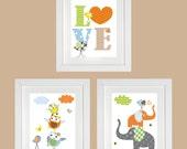 Love Owl Nursery Print Baby nursery art nursery wall art nursery print kids art Elephant  Birds Set of three prints