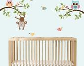 Modern Branch Wall Art, Branch Decals, Monkey Nursery, Girs Vinyl Decals, Vinyl Wall Art