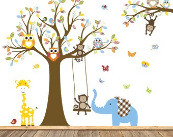 Vinyl Wall Decal  Safari Tree Monkeys Elephant Giraffe Vinyl Wall Art Decals Nursery Kids Boys