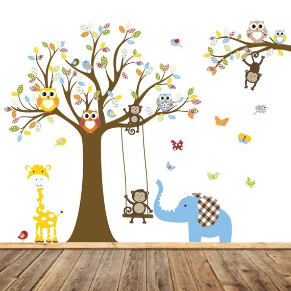 Jungle Safari Tree Monkeys Elephant Giraffe Vinyl Wall Art Decals Nursery Kids Boys
