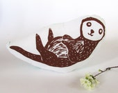 Hand Printed Otter Throw Pillow. Woodblock Printed. 16x16. Made to Order. Choose ANY color.