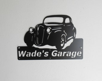 1937 Plymouth Dodge Personalized Man Cave Classic Garage Sign Satin Black