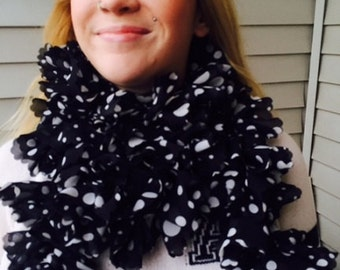 Black & White Polka Dot Ruffle Scarf