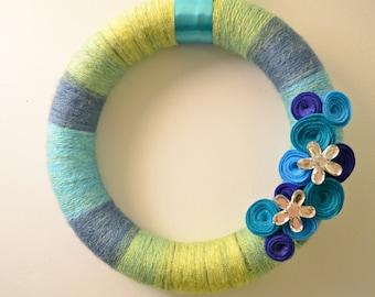 Think Spring!  Yarn Wreath with Felt Flowers