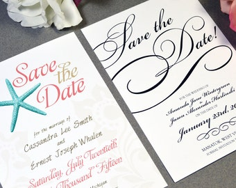 Wedding Save The Date Invitations - Modern Save the Date Invite - Custom Wedding Stationery -  5x7 or 4x6 Save the Dates by RunkPock Designs