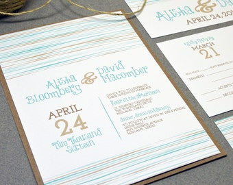 Rustic Wedding Invitation Suite - Beach Wedding Invite - Script Handwritten Wedding Pocket Fold - Teal and Kraft Brown Wedding Invitations
