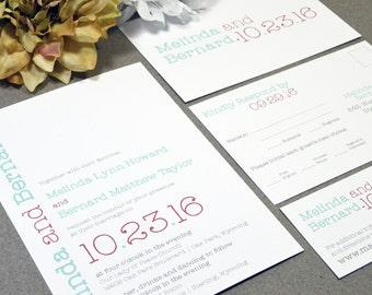 Typewriter Wedding Invitations Modern Pocket Suite Typography Invites Rustic Wedding Invitation RSVP Postcard Red and Mint Invite Winter