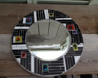 Black and White Mosaic/Fused Glass Mirror