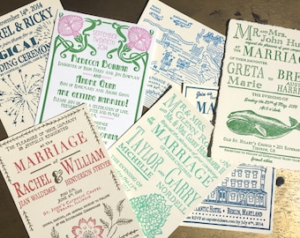 Letterpress Wedding Invitation Sample Pack