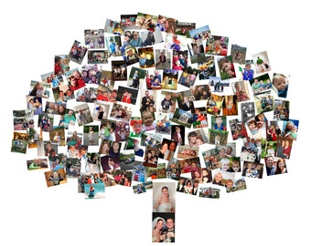 Family Tree Custom Canvas Mosaic Collage Picture Gift Wedding or Anniversary Wall Art 20x24
