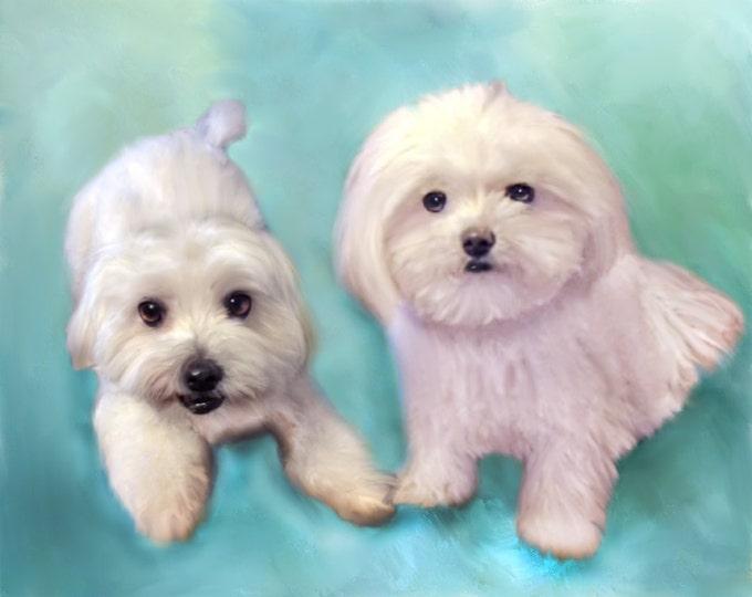 Custom Unique Gift Pet Oil Painting Pop Art Pet Lover Wall Art Photo Canvas 16x20