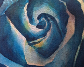 Blue Rose- Floral Watercolor ORIGINAL painting by SriWatercolors - 11 x 14 in