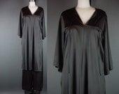 60s 70s Vanity Fair Black Lounge Loungewear Set Tunic High Slit Wide Leg Pants Lingerie 34 XS S M