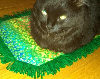 Catnip Crinkle Mat Eco Friendly Shamrock  Kelly Green color Fringe St. Patty's Day gift :)