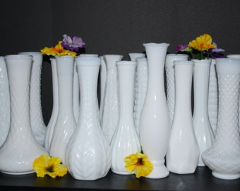 Collection of Twenty Vintage Milk Glass Bud Vases, Wedding Vases, Wedding Decor, Table Setting.