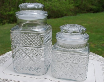 Anchor Hocking Wexford Pattern Square Glass Covered Jar, Pair of Two, Wedding Candy Bar Jar, Storage, Glass Canisters.