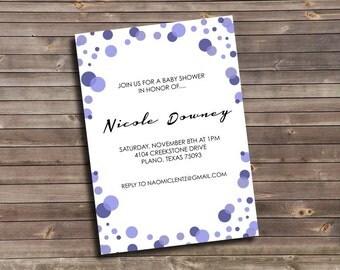 purple monochromatic dots printable baby shower invitation