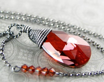 Red Crystal Necklace Sterling Silver Wire Wrap Swarovski Dark Amber Red Drop Necklace Burnt Red Pendant Necklace
