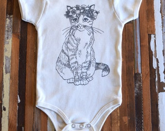 Organic Cotton Onesie - Screen Printed American Apparel Baby Onesie - Bodysuit - Baby One Piece - Cat - Kitty - Floral (You pick size)