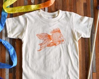 Kids Tshirt - Organic Cotton Toddler Shirt - American Apparel Kids Shirt - Screenprint Tshirt - Goldfish Toddler Tee - Hipster Kids Clothes