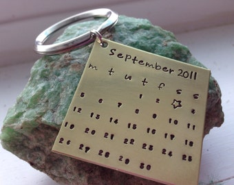 Special Date Hand Stamped Keychain in Brass