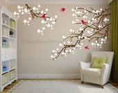 Living room wall decals - Cherry blossom decal - Cherry blossom wall decal - flowers wall decal - wall decals vinyl