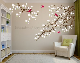 Sale  tree wall decal Living room wall decals - Cherry blossom decal - Cherry blossom wall decal - flowers wall decal - wall decals vinyl