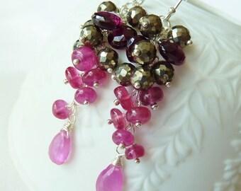 Pyrite Garnet Pink Sapphire silver earrings. Dangle earrings. Wire wrapped. Drop earrings.g