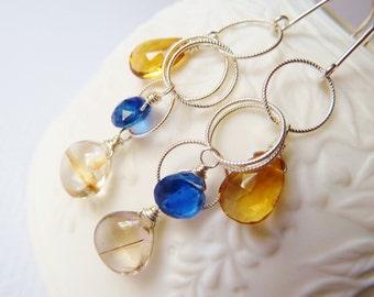 Rutilated  Quartz, Sapphire, yellow Citrine silver earrings. Dangle earrings. Urban chic casual