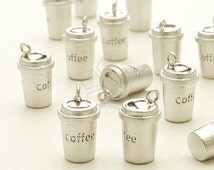 PD-934-MS / 2 Pcs - Take Out Coffee Cup Charm Pendant, Matte Silver Plated over Brass / 7.4mm x 12mm