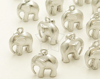 PD-942-MS / 2 Pcs - Indian Elephant Charm Pendant, Matte Silver Plated over Brass / 11mm x 11mm