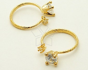 PD-965-GD / 1 Pcs - Two CZ Stones Ring Base, solitaire ring (Adjustable), 16K Gold Plated over Brass / Free Size