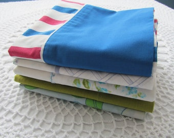 6 Vintage Pillowcases Assorment Assorted Floral Daisies All Different Blue Green White Designs Stripes Flowers Lot