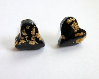 Heart Stud Earrings Heart Post Earrings Black Heart Stud Earrings Black Heart Post Earrings Valentine's Day Earrings Hand Made