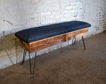 Reclaimed Wood and Raw Denim Storage Bench