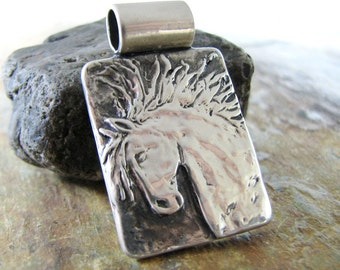 Sass, Personalized Horse Jewelry, Fine Silver Handcarved Horse Pendant by SilverWishes, PMC Jewelry