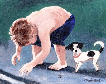 Boy and Dog Original Painting-8X10-Acrylic on Canvas-Marvin and Garbo